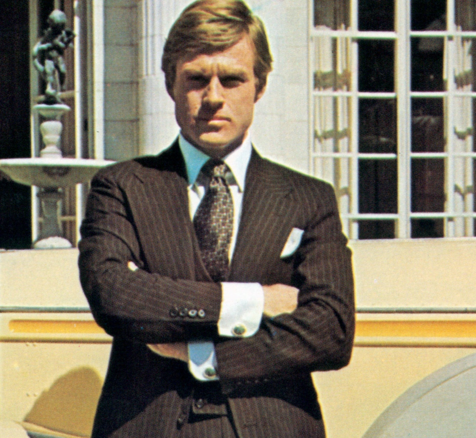 Robert Redford, in a suit by Ralph Lauren, as the title character in <em>The Great Gatsby</em> (1974)