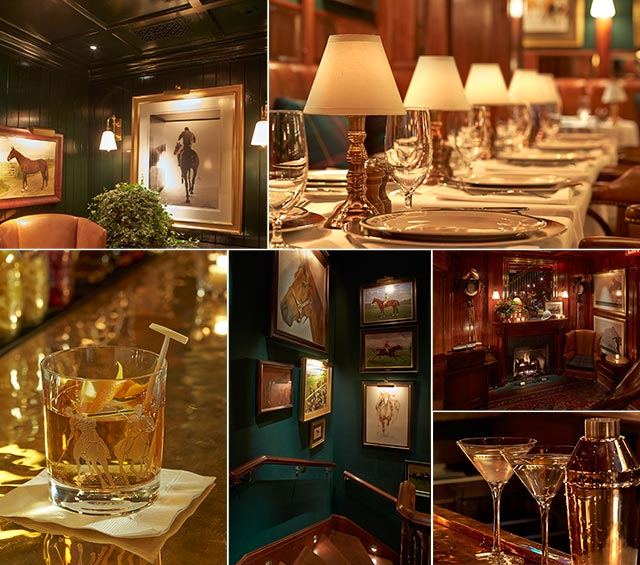A collage of the Polo Bar interior, and table settings