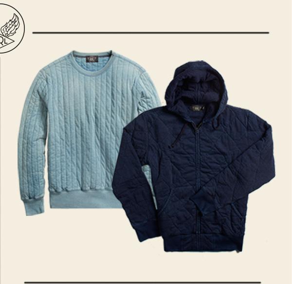 Quilted light blue crewneck sweatshirt & navy hooded sweatshirt