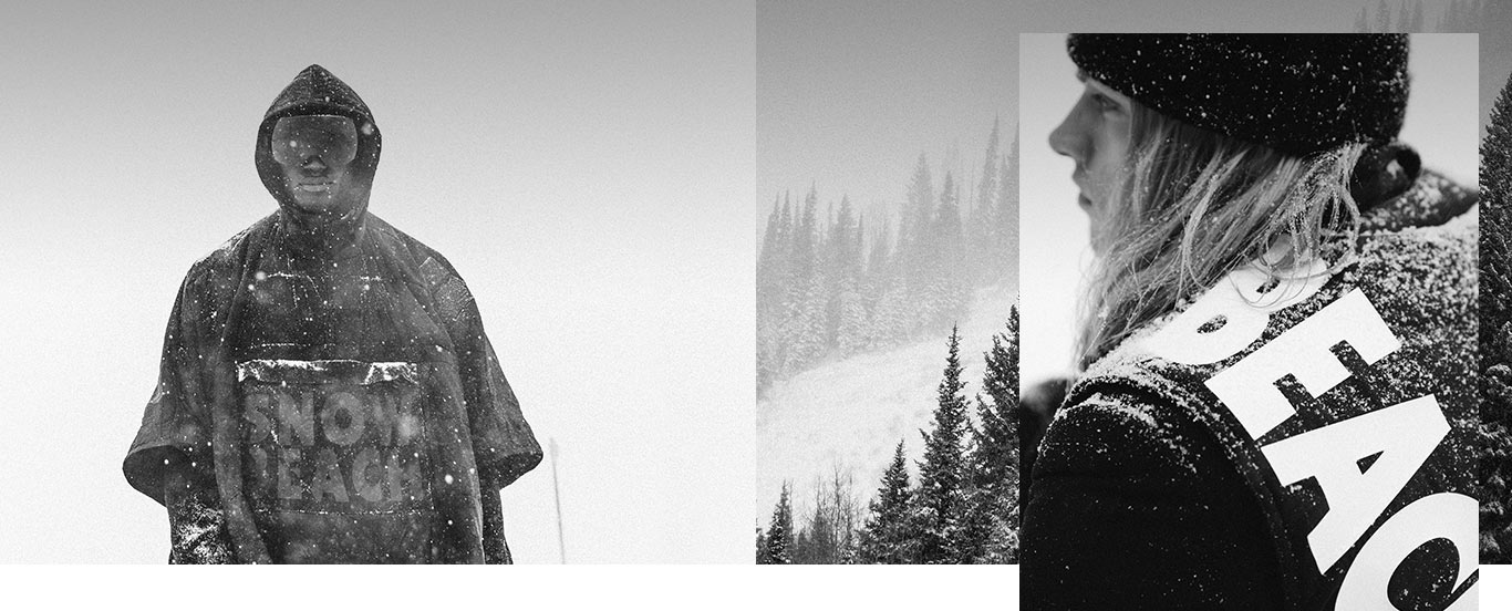 6adf725606 Models in black-and-white Snow Beach outerwear on snowy mountains