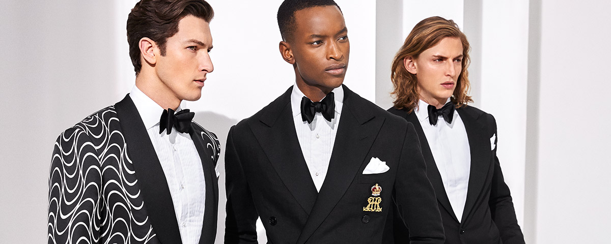 Men in classic and Art Deco–inspired suiting
