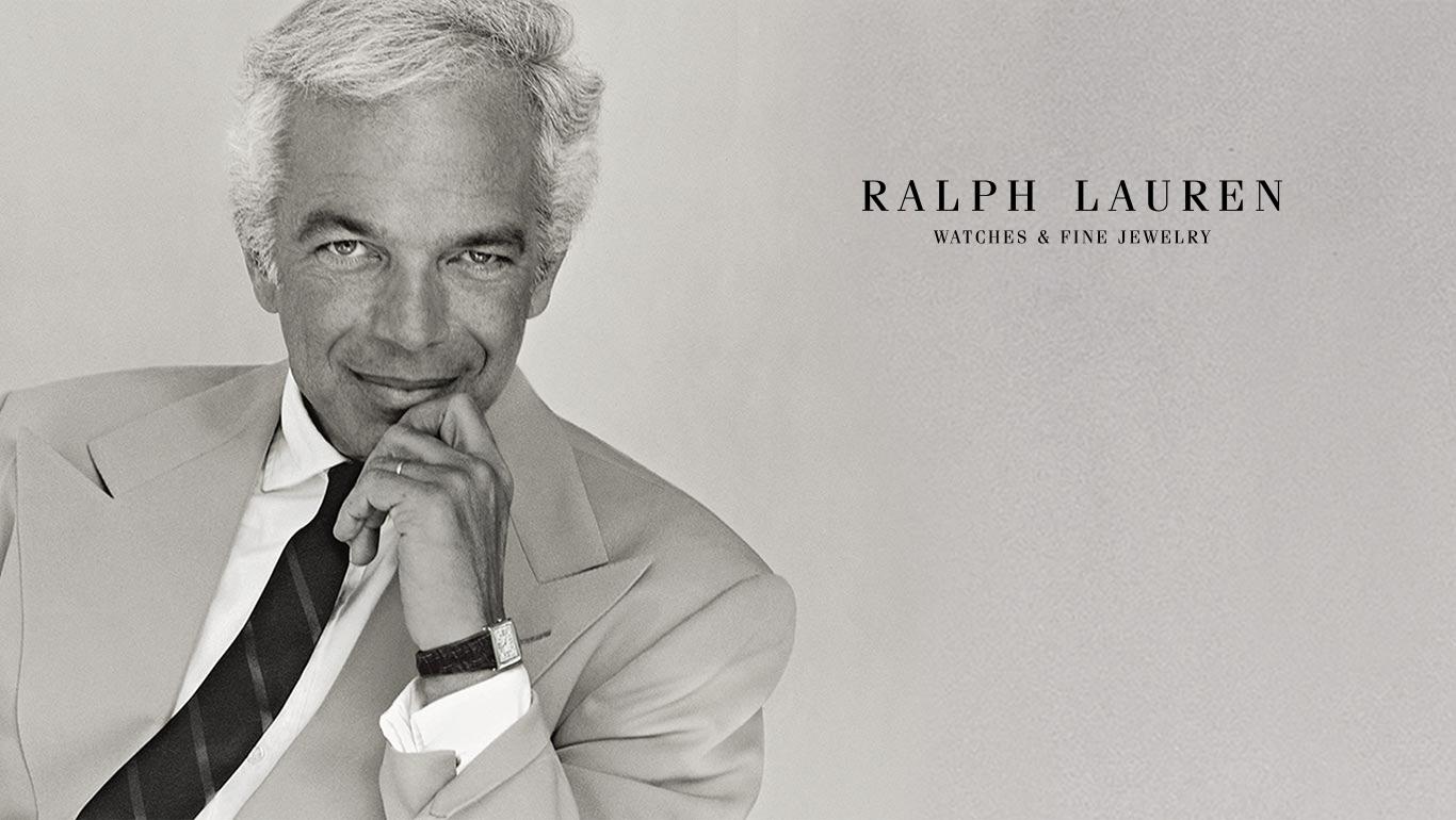 Black & white photo of Ralph Lauren in suit & tie