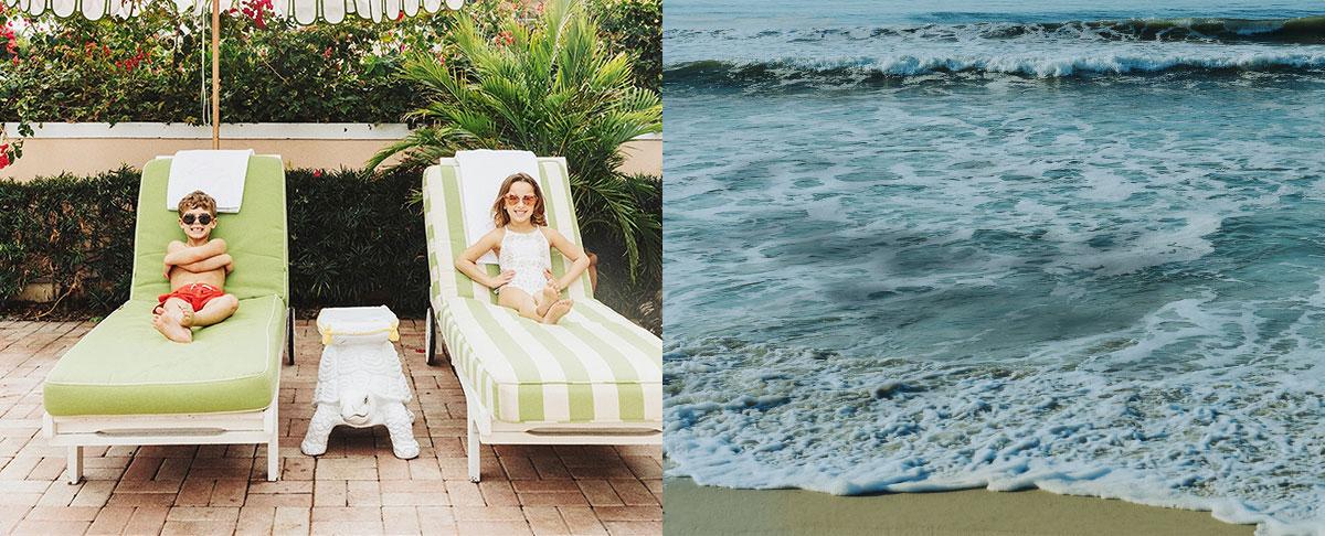 Boy wears red swim trunks; girl wears white bathing suit.