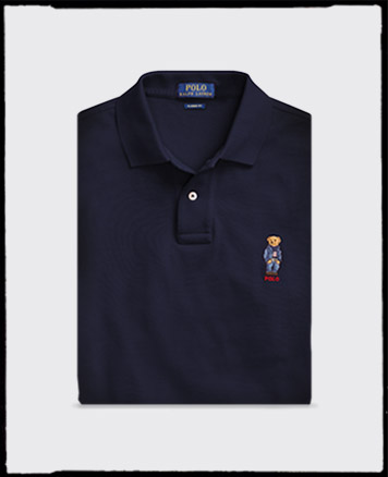 Navy Polo shirt with American flag Polo Bear embroidery