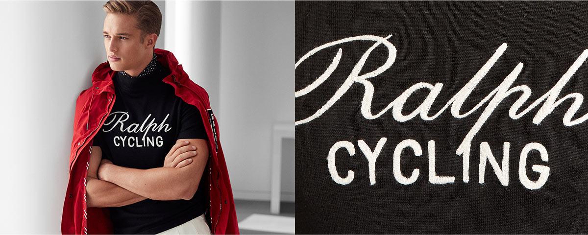 Man wears Tour de Ralph sweater and red anorak. Close-up of Tour de Ralph