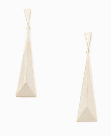 Long silver triangle earrings