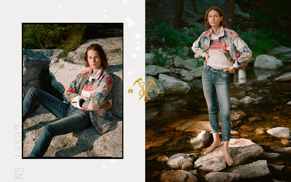 Woman standing on rocks in patchwork denim shirt & flag tee