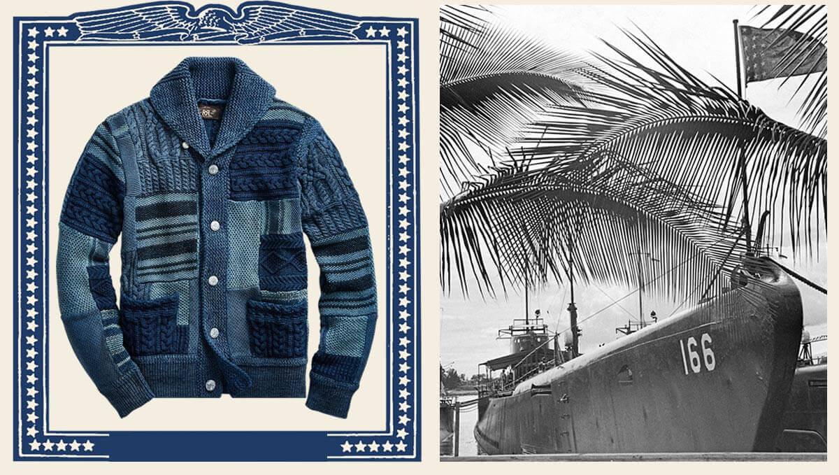 Patchwork indigo shawl-collar sweater