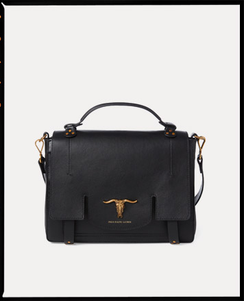 Black leather shoulder bag with steer-head accent at front