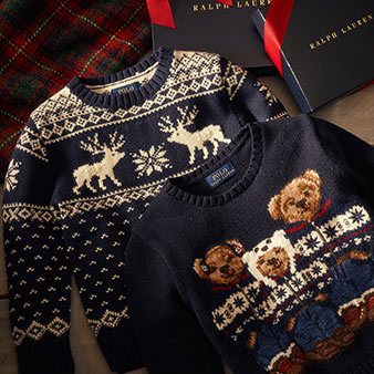 Polo Bear family sweater & snowflake & reindeer motif sweater