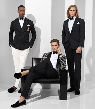 Men in Art Deco–inspired & classic black Purple Label suiting
