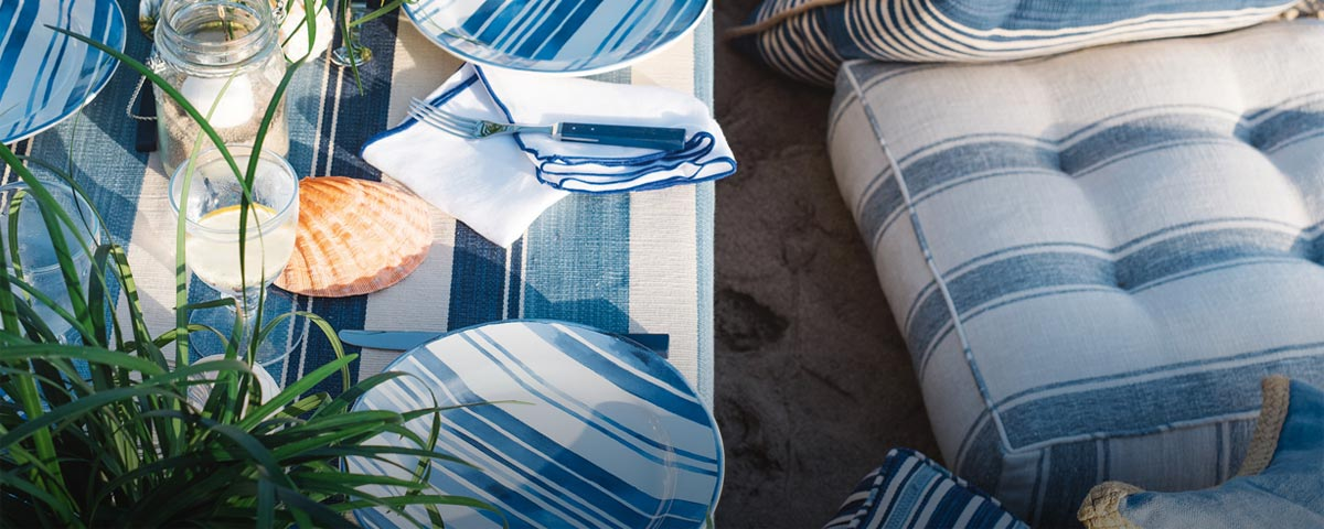 Blue & white dinnerware, tabletop & outdoor dining furniture