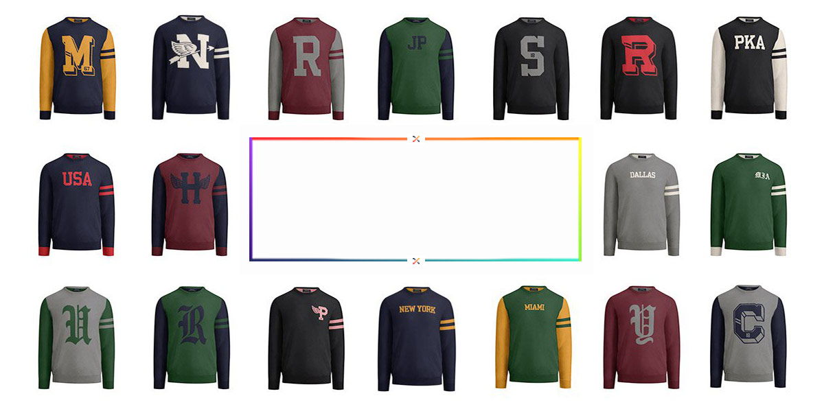 Image grid of many possible variations of the Custom Crewneck Sweater.