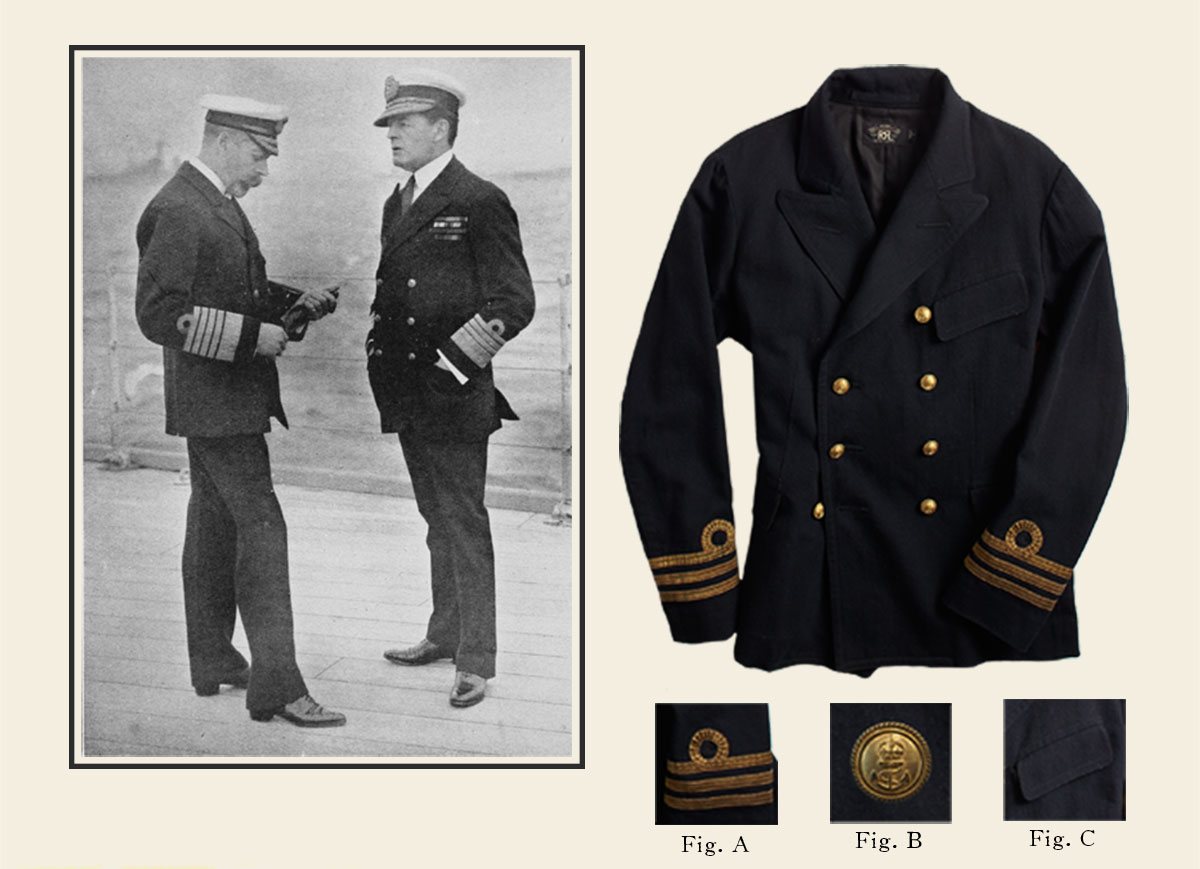 Bullion-embroidered double-breasted coat with gold anchor buttons