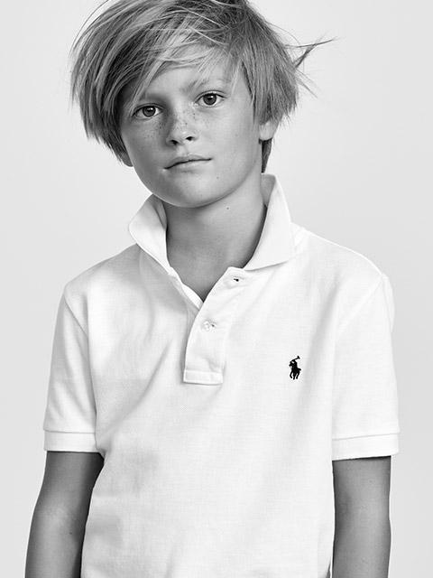 Boy in white custom Polo shirt