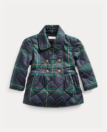 Quilted navy and green plaid coat.