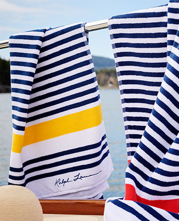 Towels with nautical-inspired navy stripes & Ralph Lauren script