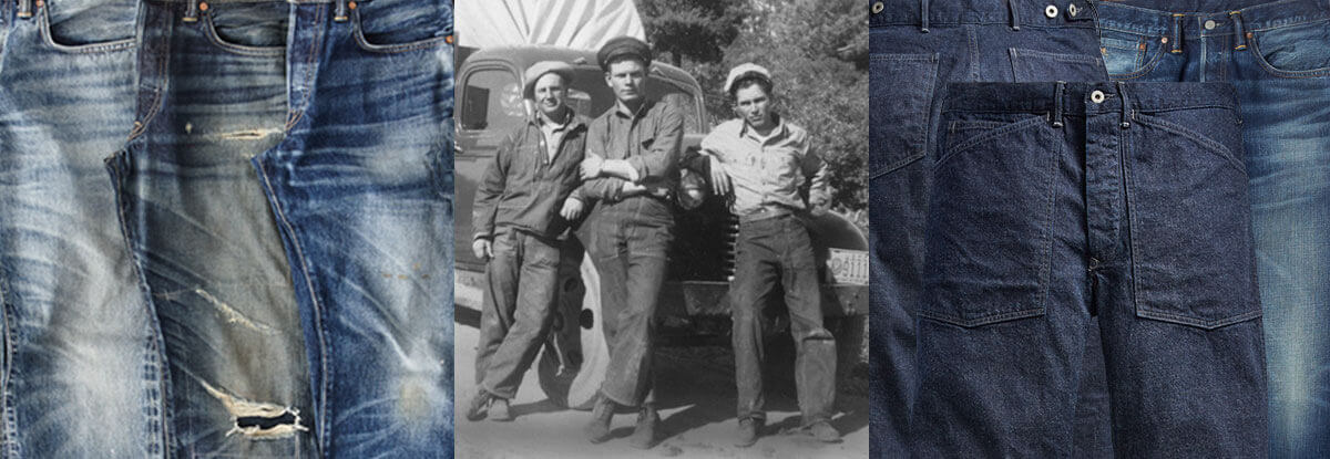 Jeans of various washes & vintage photograph of denim-plaid by car