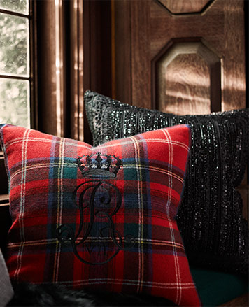 Plaid throw pillow & sequin embroidered throw pillow