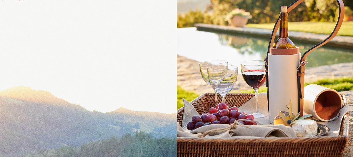 Wicker tray, white leather wine tote & wine glasses