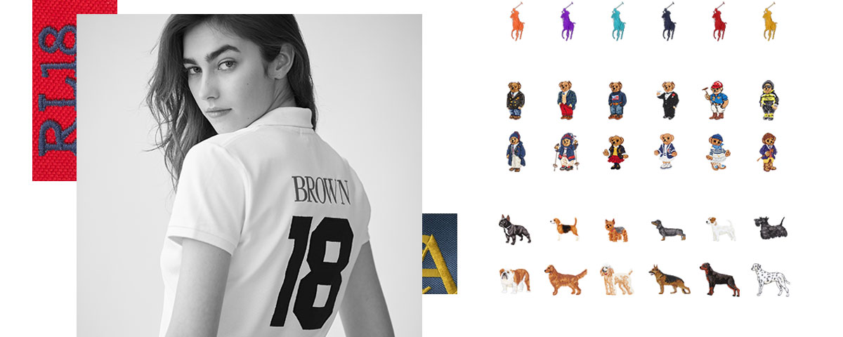 Model in customized white Polo shirt & various personalization options