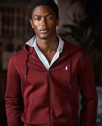 Dark red full-zip hoodie with white Polo Pony at chest