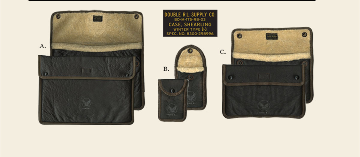 Weathered brown leather pouches with shearling lining