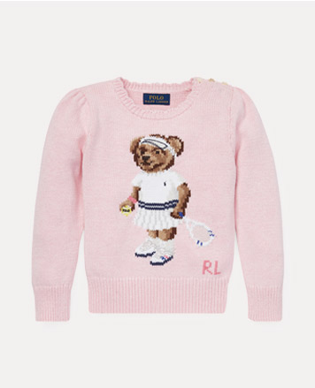 Light-pink sweater with embroidered tennis Polo Bear at the front.