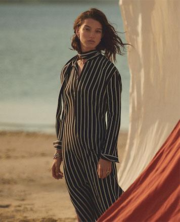 Tan-and-black striped tie-neck silk dress