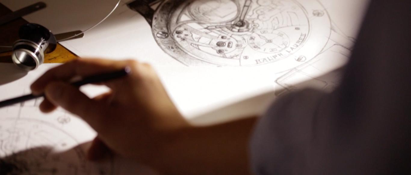 Photograph of designer sketching watch designs