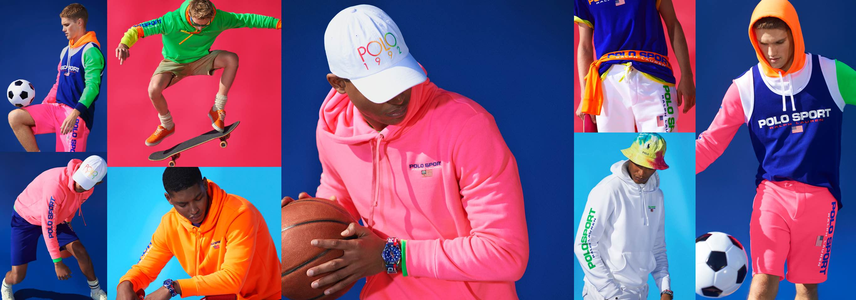 Collage of men in neon Polo Sport apparel