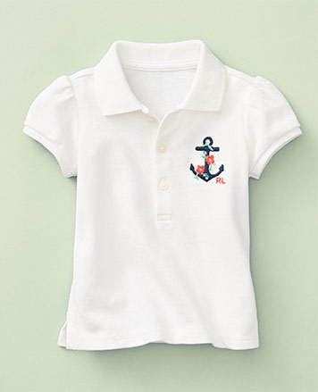 White Polo shirt with anchor & floral embroidery at chest