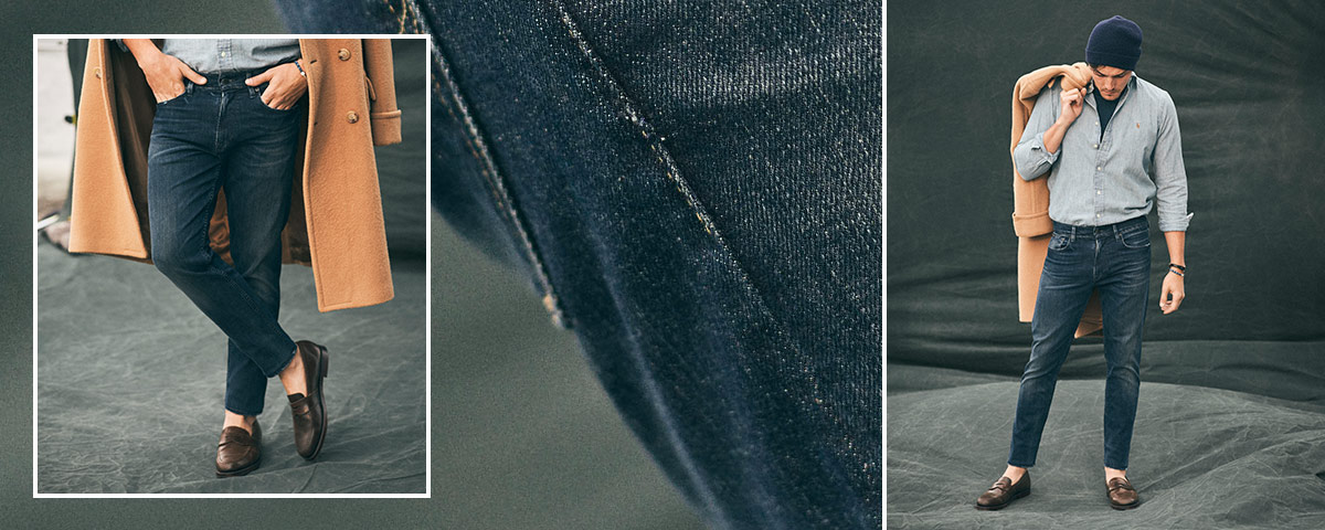 Close-up of Eldridge Skinny jean; man wears Polo denim.