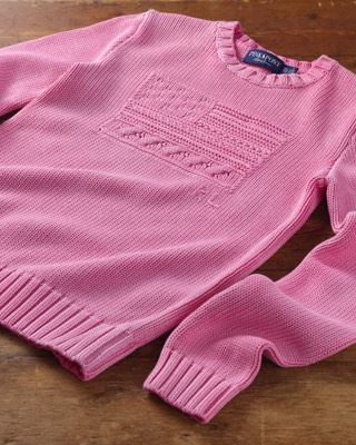 Pink sweater with tonal American flag motif