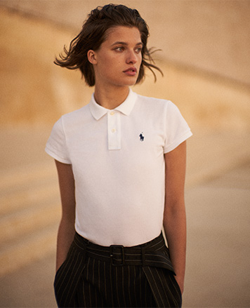 Woman in white Polo shirt