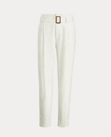 White paperbag chino pants