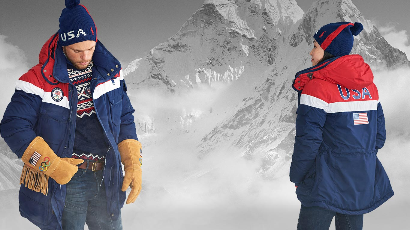Olympians in red, white & blue heated jacket & fringed suede gloves