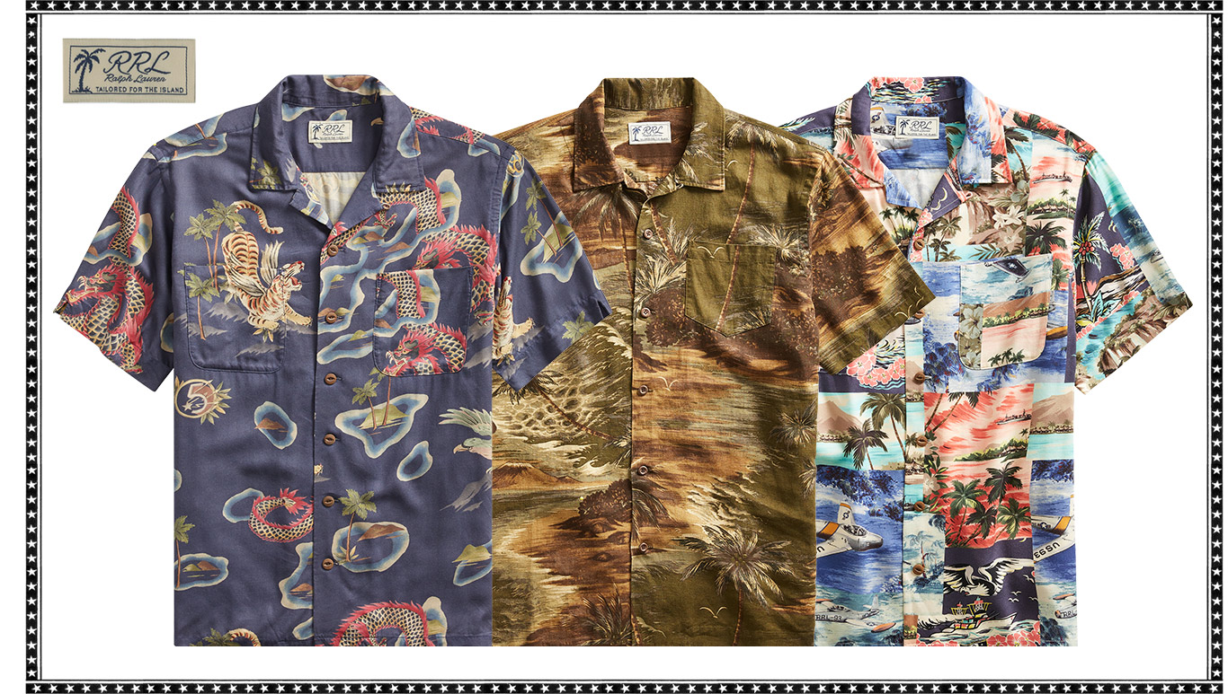 d44a9e661e6 Short-sleeve button-down shirts with tropical-island-themed prints