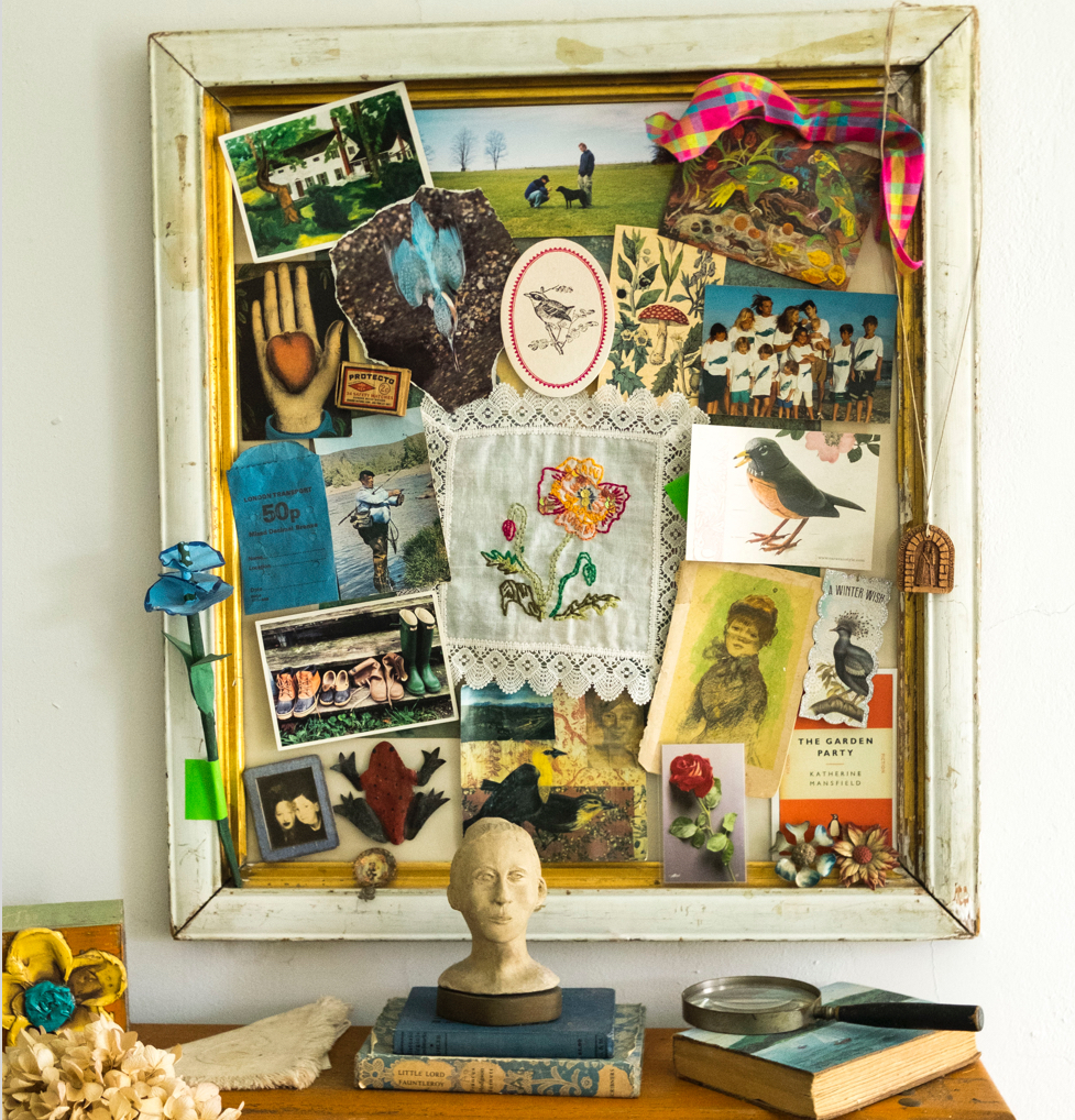 Create a romantic collage in a vintage frame and hang it in whatever room the theme suggests—a  cook's collage in the kitchen, a gardener's collage in a garden shed, a children's artwork collage in their bedroom