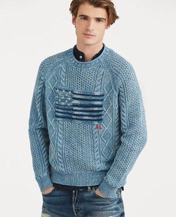 Indigo-dyed American flag sweater