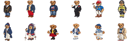 Two rows of the Polo Bear as various characters