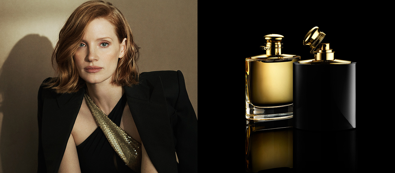 39d7be83a339 Photograph of Jessica Chastain & bottles of Intense fragrance. INTRODUCING.  Woman by Ralph Lauren NEW EAU DE PARFUM INTENSE