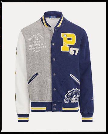 Grey, white & blue color-blocked baseball jacket with large P patch