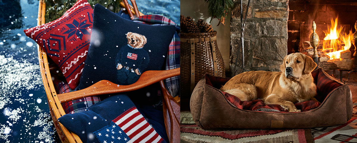 Sled filled with festive throw pillows & golden retriever by fireplace