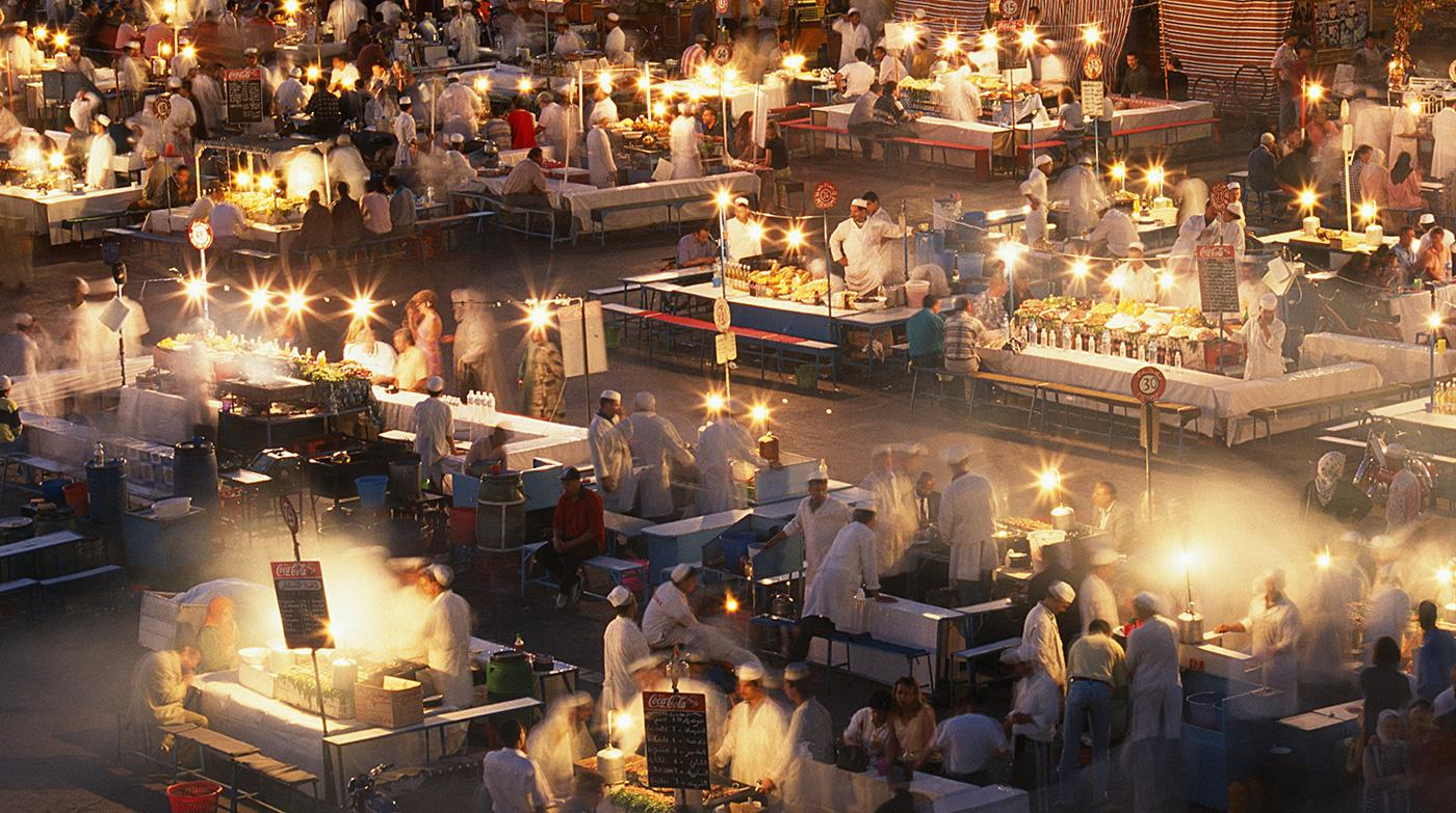 Let your nose guide you through the dizzying array of street-food vendors at Djemaa el-Fnaa market
