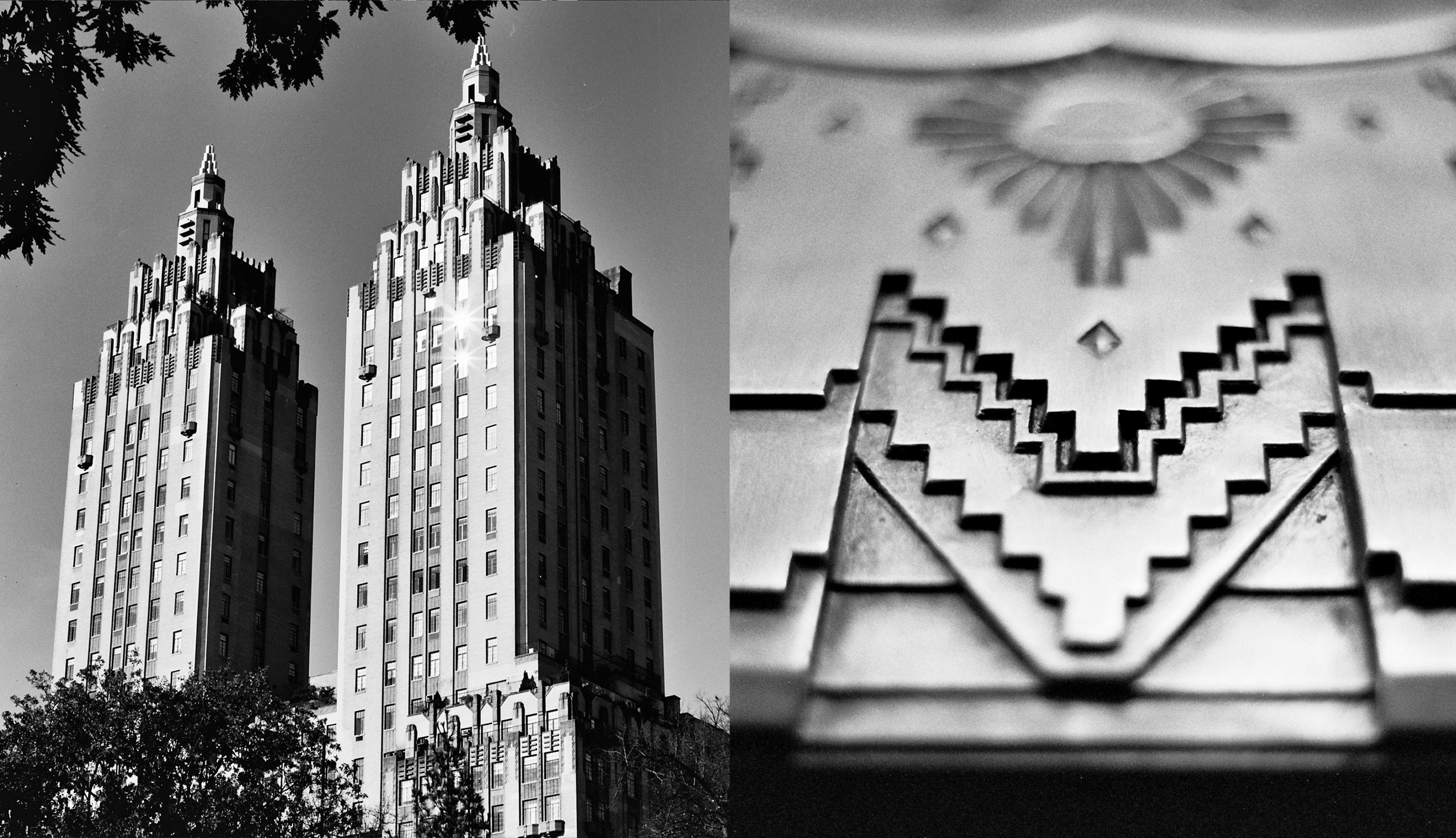 Left: The towers of the El Dorado. Right: a detail from the lobby of 100 Barclay