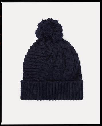 Knit black hat with pom-pom