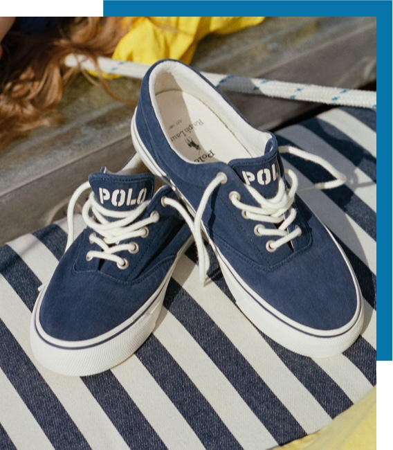 Blue lace-up sneakers with white Polo logo