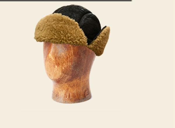 Dark brown shearling aviator hat