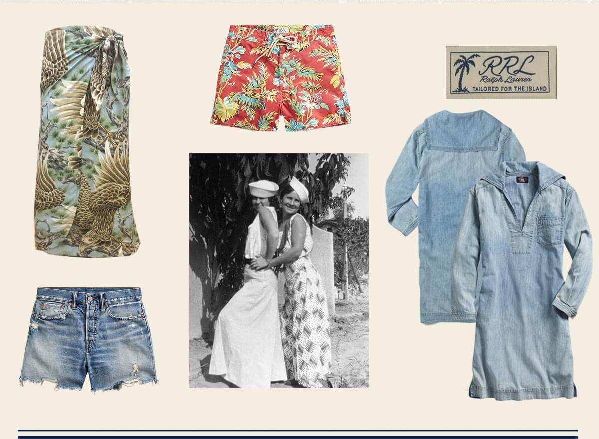 Denim shorts & dresses & tropical-inspired printed shorts & skirt